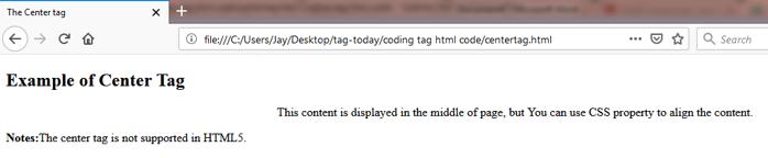 HTML CENTER (<center>) Tag