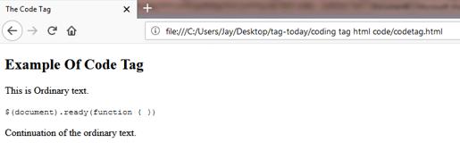 CODE (<code>) Tag