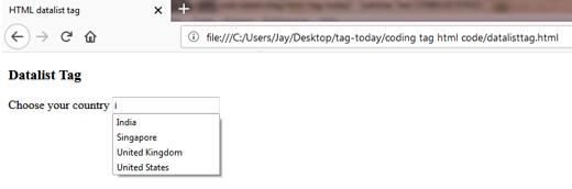 DATALIST (<datalist>) Tag