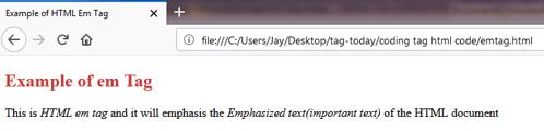 HTML EM <em> Tag