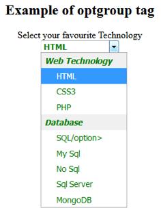 HTML OPTGROUP <optgroup> Tag