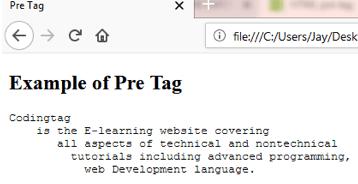 HTML PRE <pre> Tag