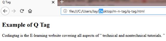 HTML Q <q> Tag