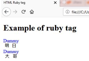 HTML RUBY <ruby> Tag
