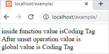 unset function in php