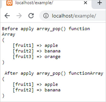 array_pop() function in php