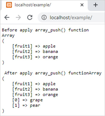 array_push() function in php