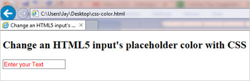 How to change an HTML5 placeholder color with CSS