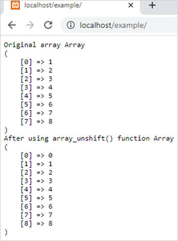array_unshift() function in php