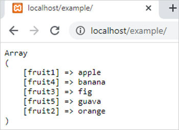 asort() function in php