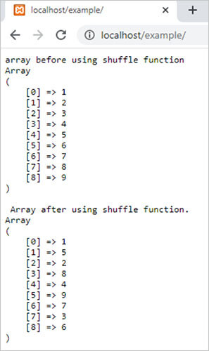 shuffle() function in php