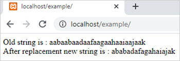 preg_replace() function in php