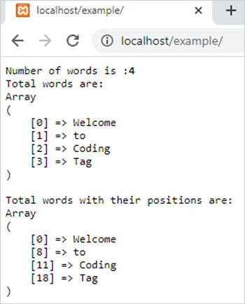 str_word_count() function in php