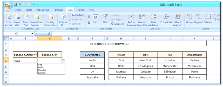 Dependent drop-down list in Excel
