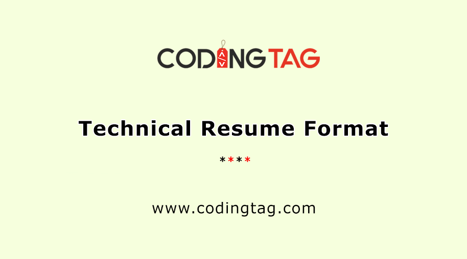 Technical Resume Format