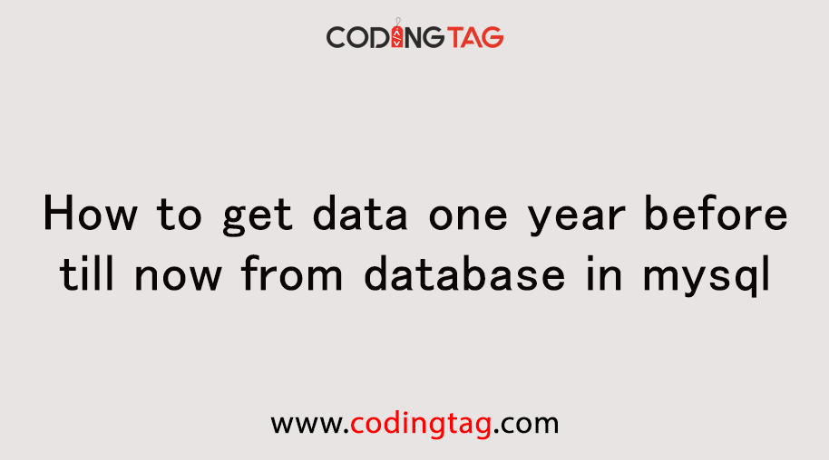How to get data one year before till now from database in mysql?