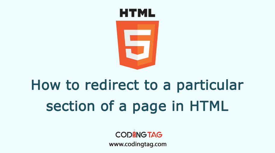 How to redirect to a particular section of a page in HTML?